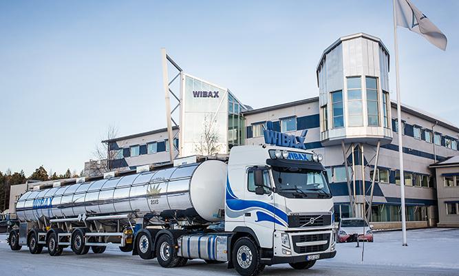 Tanker truck outside of Wibax's head office in Piteå