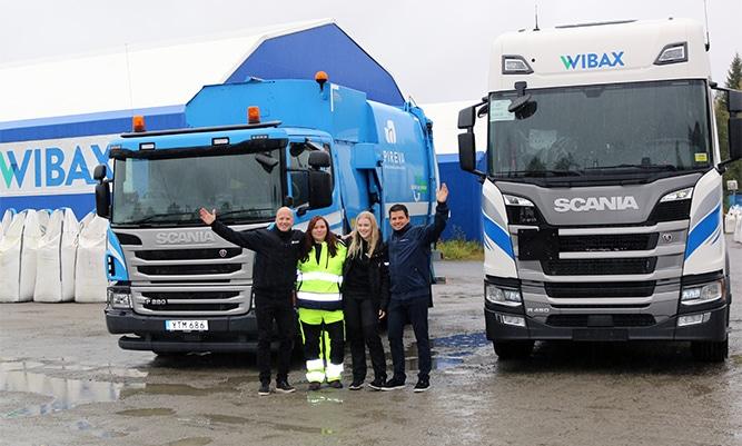 Kuvassa vasemmalta: David Öquist, Pirevan toimitusjohtaja, Lisa-Maria Henriksson-Hjelm, Pirevan kuljettaja, Emma Backman, Wibaxin kuljettaja ja Jonas Wiklund, Wibax-konsernin toimitusjohtaja